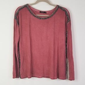 Max jeans red rust beaded long sleeve top